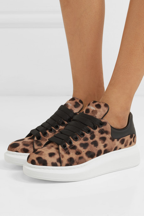 Leopard-print calf hair and leather sneakers