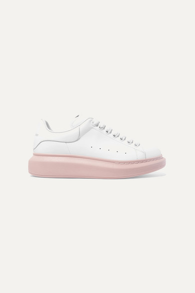 ALEXANDER MCQUEEN | Alexander McQueen - Leather Exaggerated-Sole Sneakers - White | Goxip