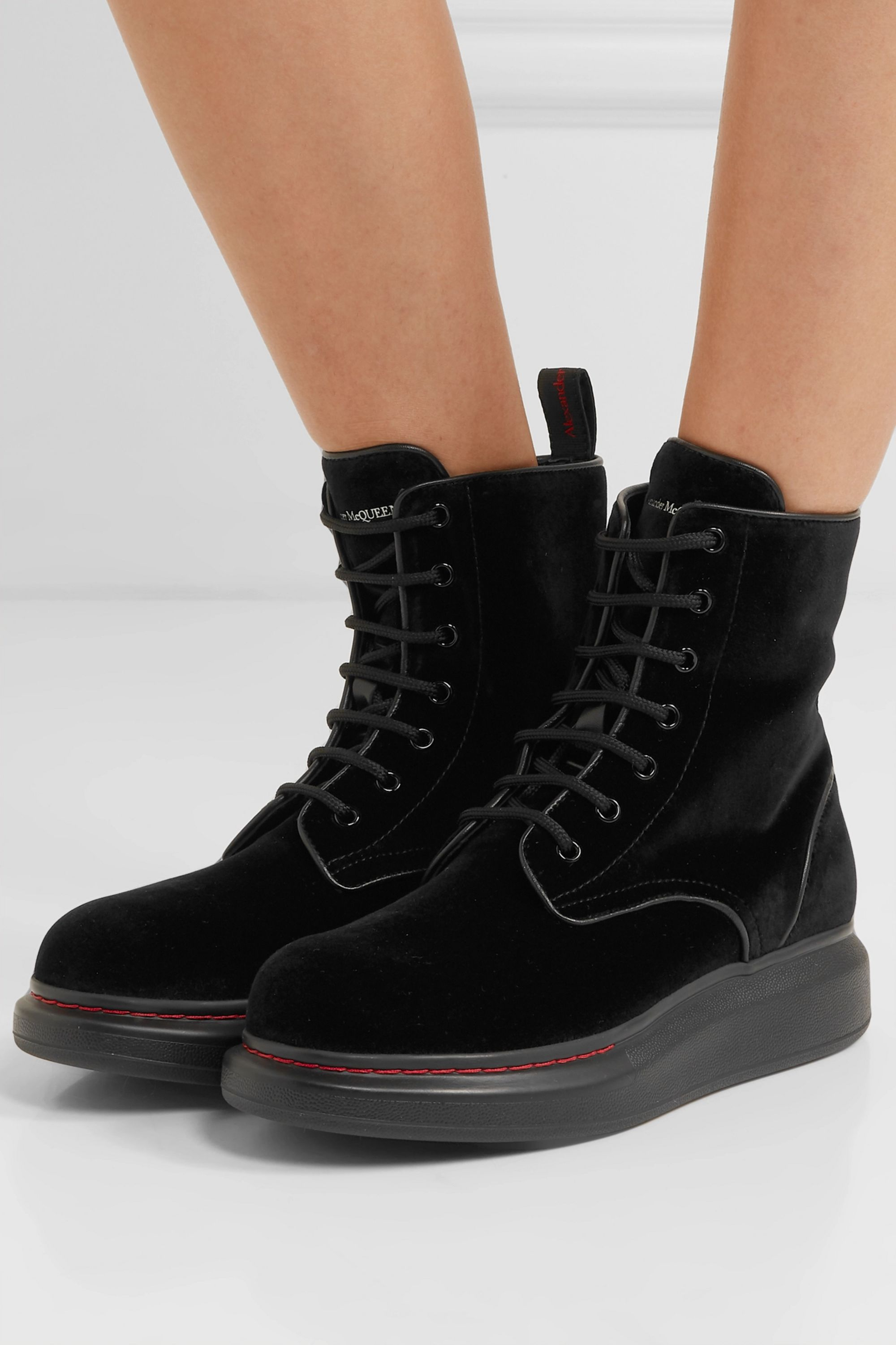 Alexander McQueen Leather-trimmed velvet exaggerated-sole ankle boots