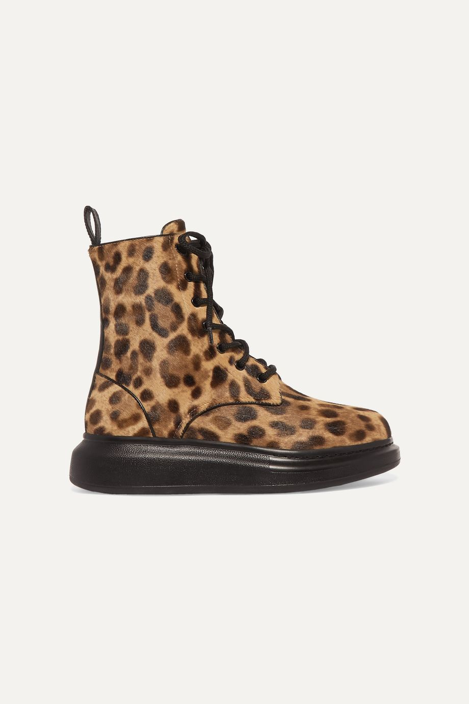 Alexander McQueen Leopard-print calf hair ankle boots