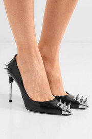 Spiked leather pumps
