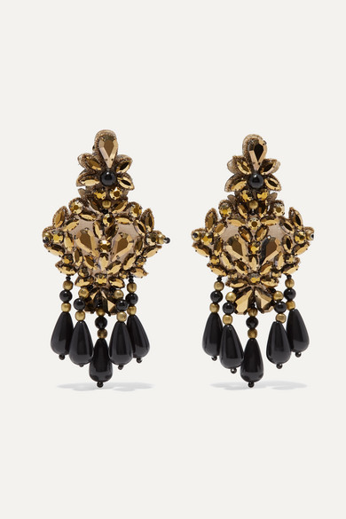 Gold Tone, Felt, Crystal And Bead Clip Earrings by Etro