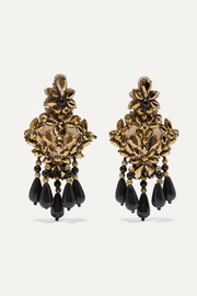 Etro Gold-tone, felt, crystal and bead clip earrings