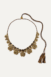 Etro Braided cotton, bead and crystal necklace