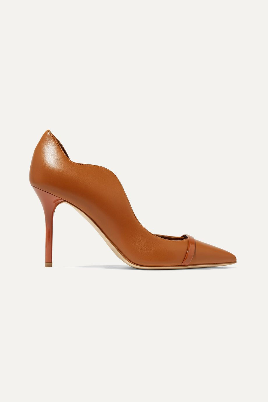 Malone Souliers Morrissey 85 patent-trimmed leather pumps