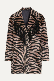 Foxy Lady Hunny fringed animal-print felt coat