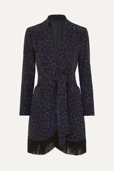 Vayana Sunshine belted fringed leopard-print silk-crepe blazer