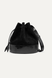 Large suede and lizard bucket bag