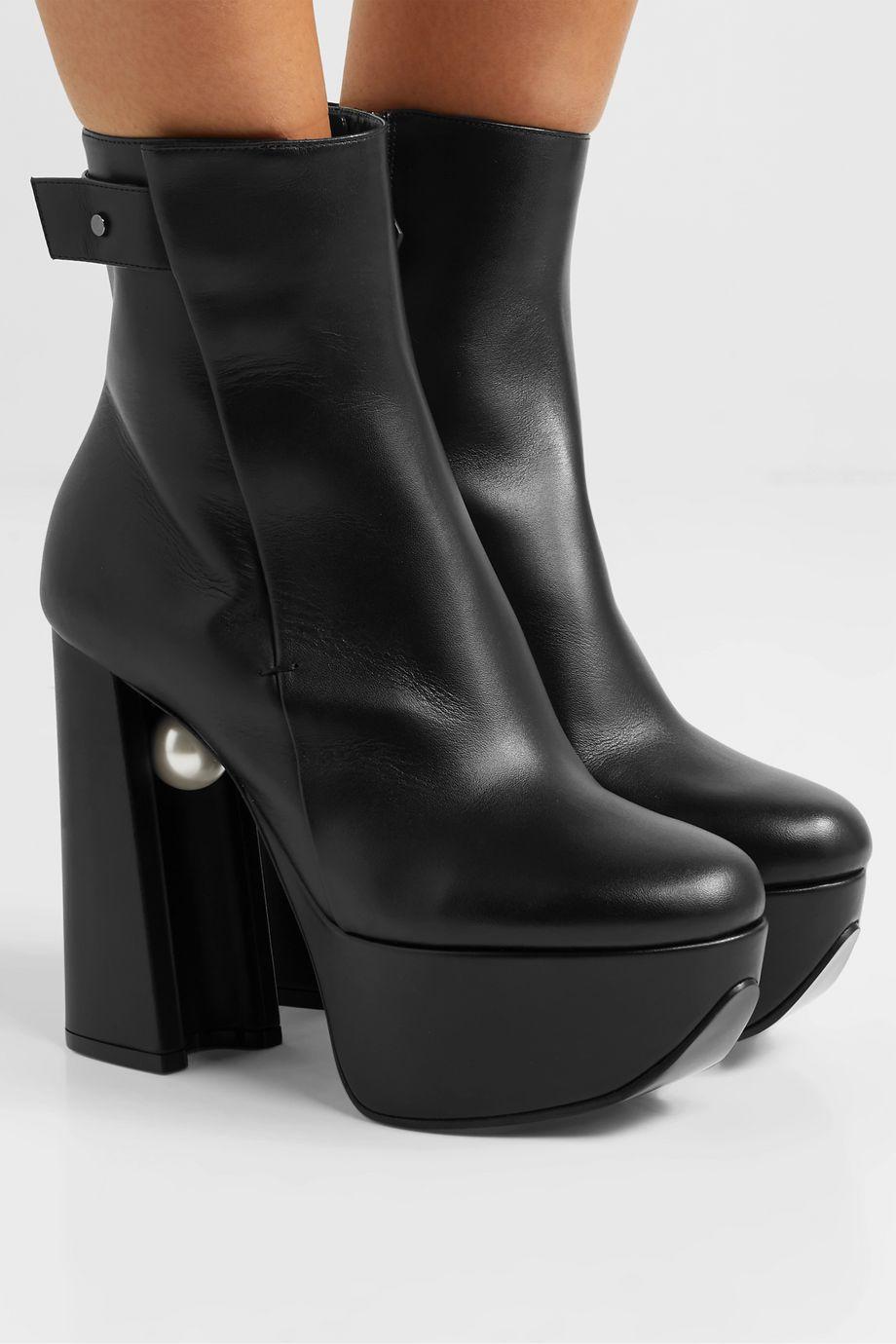 Nicholas Kirkwood Miri faux pearl-embellished leather platform ankle boots