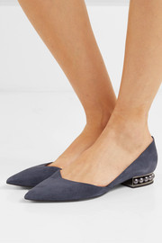 Casati faux pearl-embellished suede point-toe flats