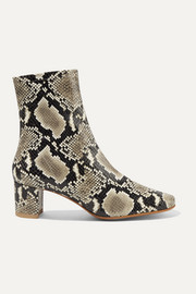BY FAR Sofia snake-effect leather ankle boots