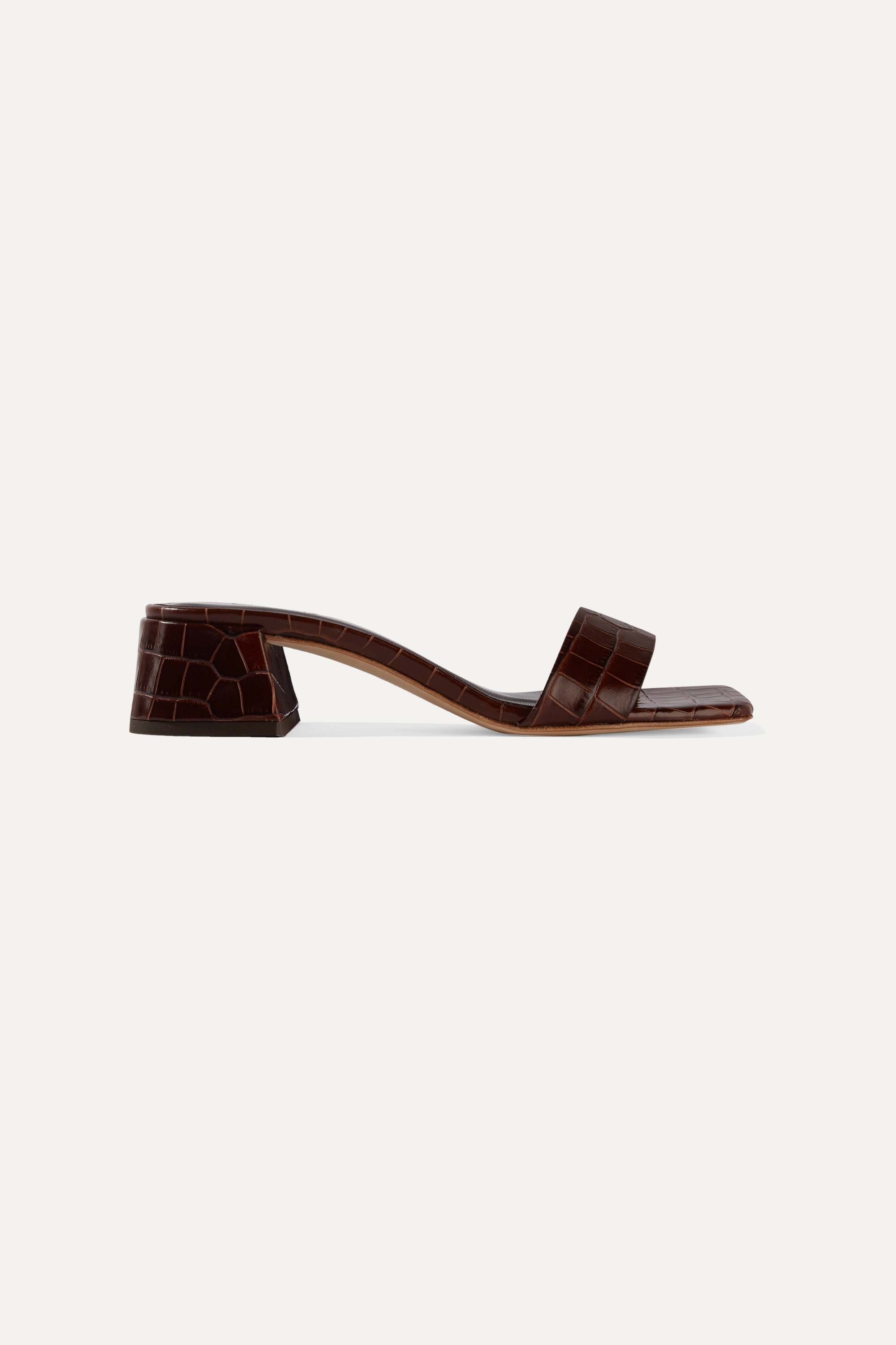 BY FAR Courtney croc-effect leather mules