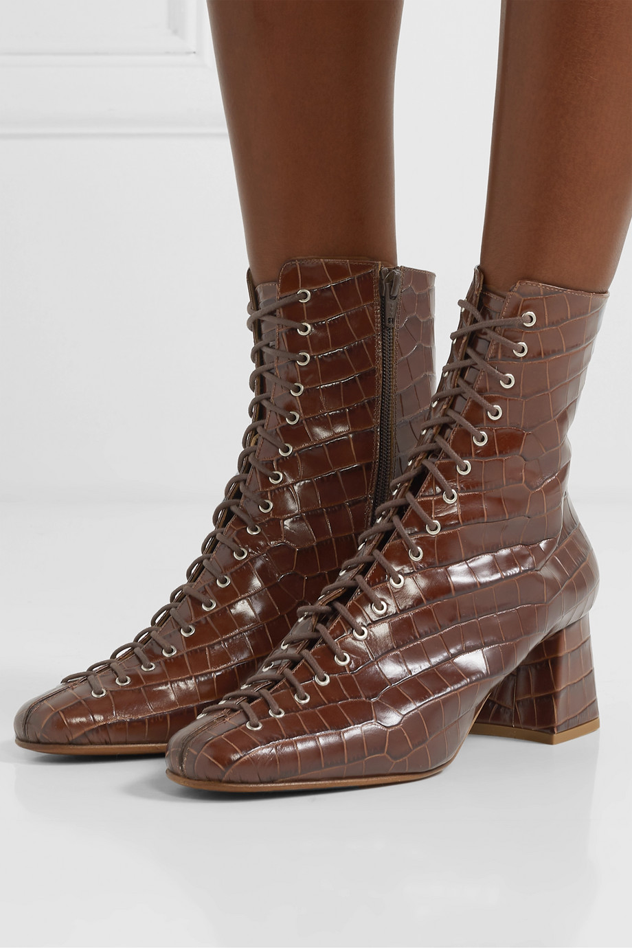 BY FAR Becca glossed croc-effect leather ankle boots