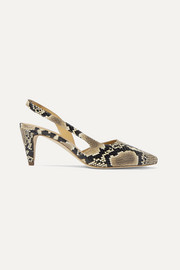 Lauren snake-effect leather slingback pumps