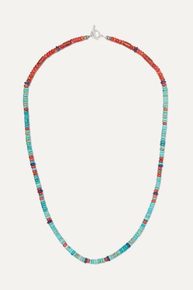 MIKIA | Mikia - Silver Multi-Stone Beaded Necklace - Blue | Goxip