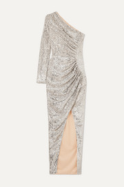 RASARIO One-shoulder ruched sequined tulle gown
