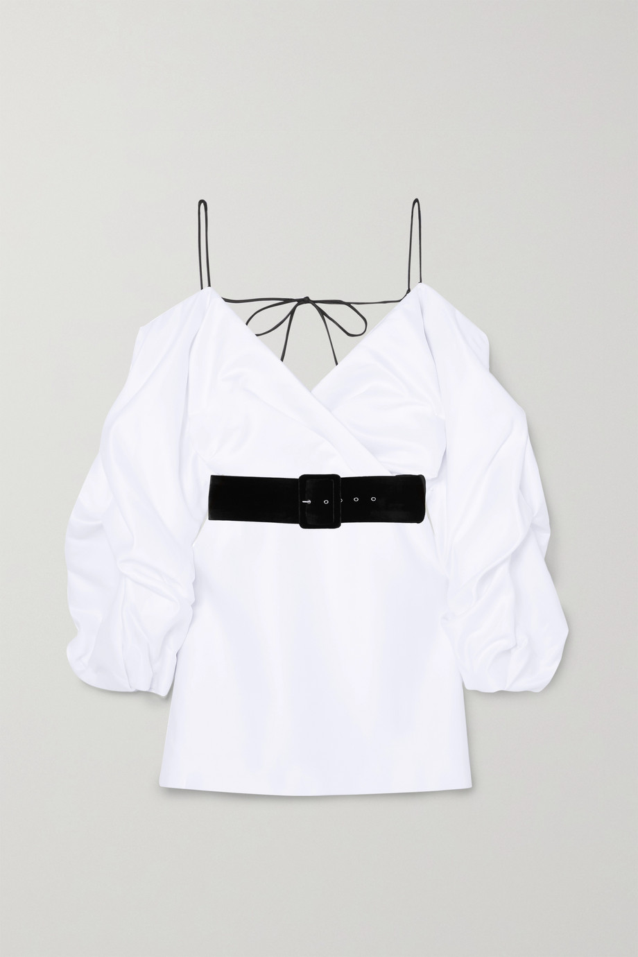 RASARIO 挖肩配腰带缎布迷你连衣裙