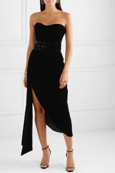 Strapless asymmetric draped velvet dress