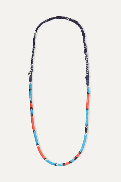 MIKIA | Mikia - Glass And Cotton-Voile Necklace - Red | Goxip