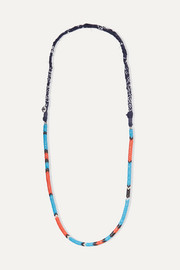 Glass and cotton-voile necklace