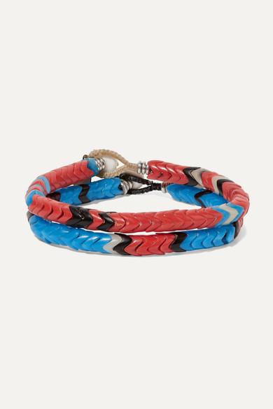 MIKIA | Mikia - Set Of Two Beaded Bracelets - Blue | Goxip