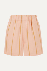 Beachside striped cotton-blend shorts