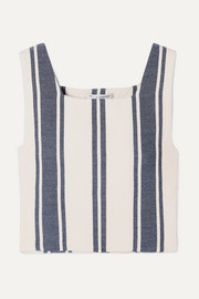 Castellations cropped striped cotton-blend top
