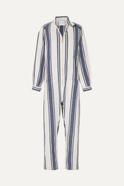 Lucy Folk Beachside striped cotton-blend jumpsuit