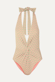 Self-Portrait Knotted printed halterneck swimsuit