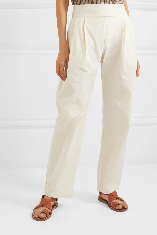 MATIN Pleated cotton-canvas straight-leg pants