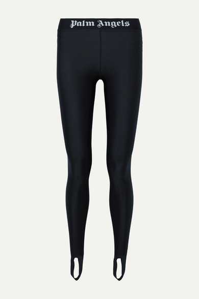 jacquard-trimmed-stretch-leggings by palm-angels