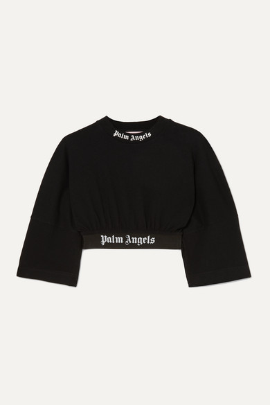 cropped-jacquard-trimmed-printed-cotton-jersey-t-shirt by palm-angels