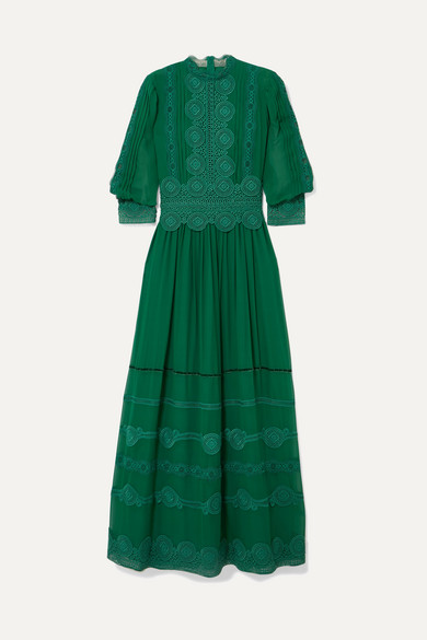 Costarellos Velvet-Trimmed Embroidered Silk-Chiffon Gown In Emerald