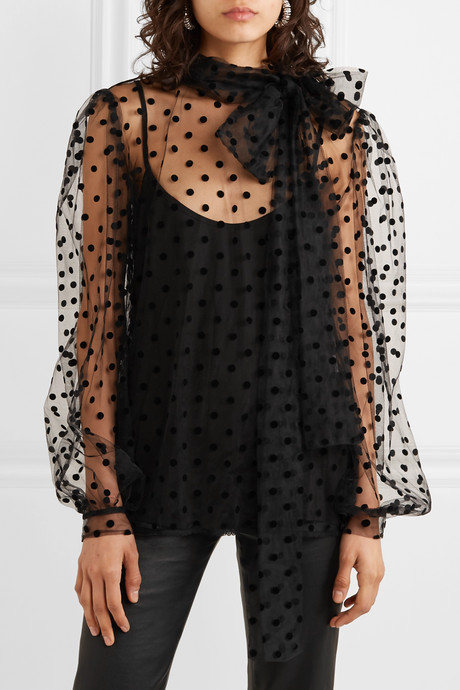 Bow-embellished polka-dot flocked tulle blouse