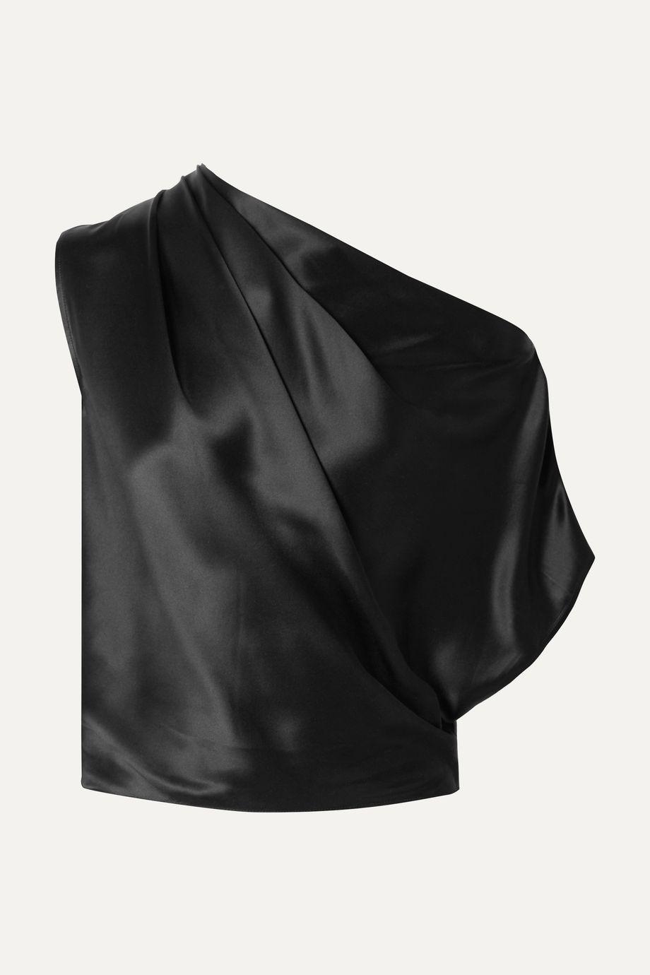 Michelle Mason One-shoulder draped silk-charmeuse top