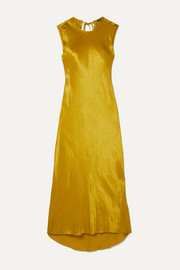 Ann Demeulemeester Frayed hammered-satin maxi dress