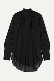 Ann Demeulemeester Oversized cotton and cashmere-blend voile blouse