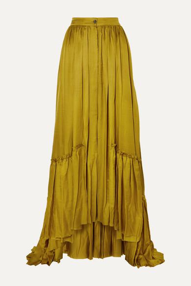 Ann Demeulemeester Skirts Asymmetric tiered habotai maxi skirt