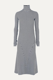 Haider Ackermann Striped wool turtleneck midi dress