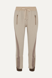 Haider Ackermann Cropped paneled cotton-jersey tapered track pants