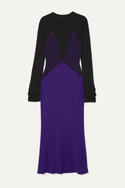 Haider Ackermann Color-block paneled silk-satin and knitted midi dress