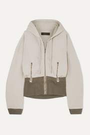 Haider Ackermann Paneled ribbed cotton-jersey hoodie