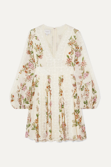 Lace Trimmed Floral Print Silk Georgette Mini Dress by Giambattista Valli