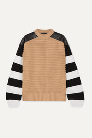 Leather-paneled striped fleece wool and cashmere-blend sweater