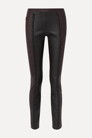 Haider Ackermann Braid-trimmed leather skinny pants