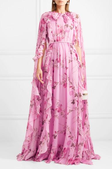 cee07765f8 Giambattista Valli | Cape-effect ruffled floral-print silk-georgette ...