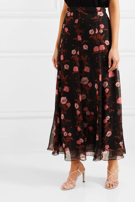 Floral-print silk-georgette maxi skirt