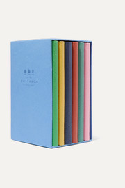 Be Entitled set of six textured-leather notebooks
