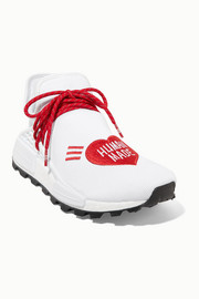 adidas Originals + Pharrell Williams + HUMAN MADE NMD Hu appliquéd stretch-knit sneakers
