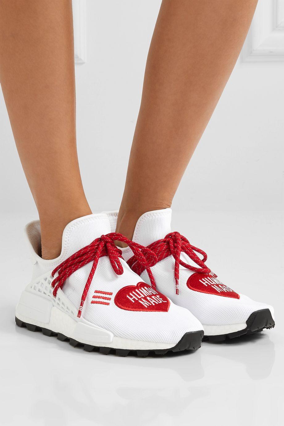 adidas Originals + Pharrell Williams + HUMAN MADE NMD Hu appliquéd stretch-knit sneakers